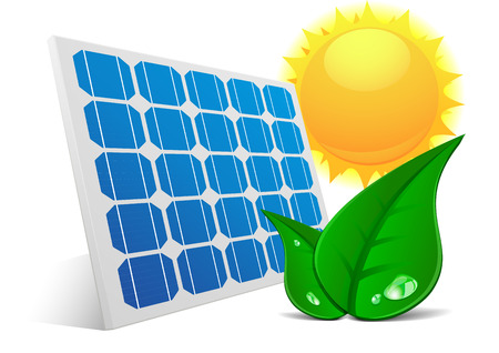 solar cells: detailed illustration of a solar cell panel with green leafs and sun, eps10 vector Illustration