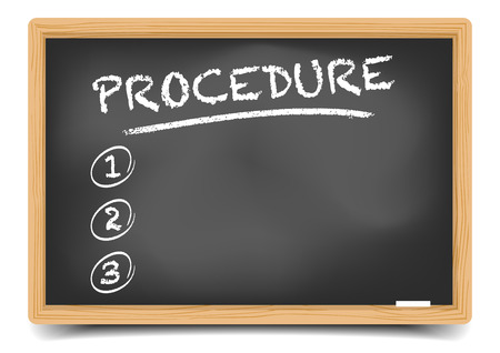 procedures: detailed illustration of a blackboard with an empty Procedure list, eps10 vector, gradient mesh included