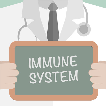 minimalistic illustration of a doctor holding a blackboard with Immune System text, eps10 vector
