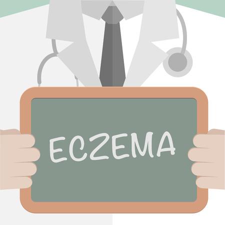minimalistische illustratie van een arts die een bord met Eczeem tekst, eps10 vector