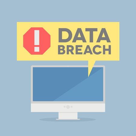 データ モニターのミニマルなイラスト違反警告バルーン、eps10 ベクトル  イラスト・ベクター素材