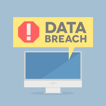 cyber attack: minimalistic illustration of a monitor with a data breach alert speech bubble, eps10 vector