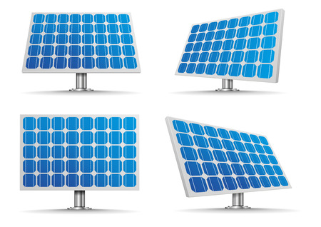 solar collector: set of detailed illustration of a solar cell panels, eps10 vector