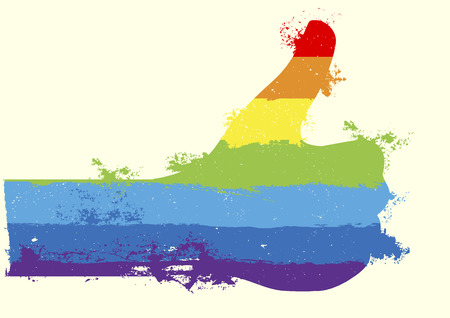 thumbup: detailed illustration of a grungy rainbow thumbs up background, eps10 vector