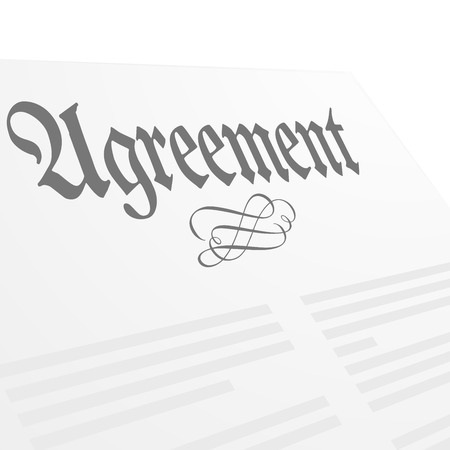 signing document: detailed illustration of an Agreement letter, vector
