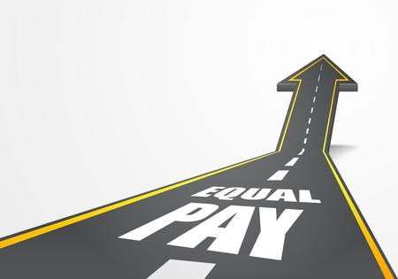 wage: detailed illustration of a highway road going up as an arrow with Equal Pay text, vector Illustration