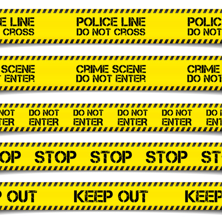 detailed illustration of Police Caution Tapes,  vector