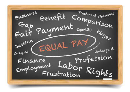 unequal: detailed illustration of a Equal Pay wordcloud on a blackboard, vector, gradient mesh included