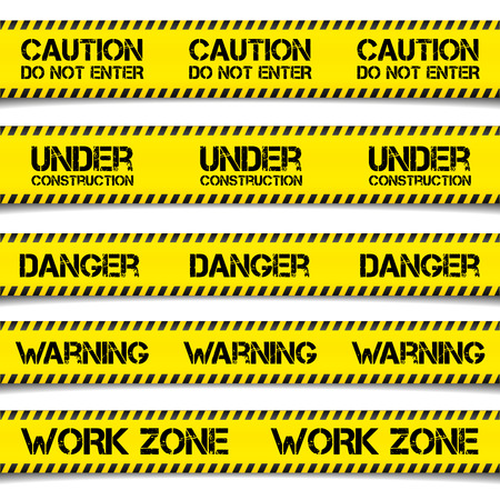 police tape: detailed illustration of Construction Caution Tapes, vector