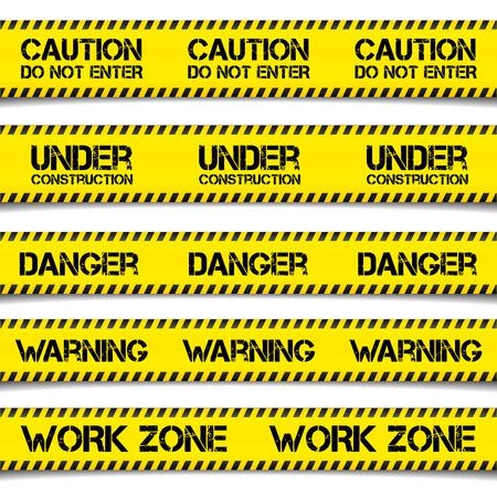 advertencia: ilustración detallada de Precaución Cintas de construcción, vector
