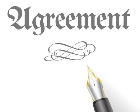 signing document: illustration of an Agreement Letter with fountain pen