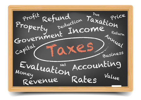 tax return: detailed illustration of a taxes wordcloud on a blackboard, vector, gradient mesh included