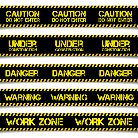 cordon: detailed illustration of Construction Caution Lines, eps10 vector