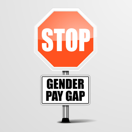 detailed illustration of a red stop Gender Pay Gap sign, vector Vectores