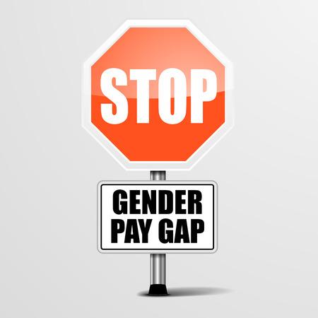 detailed illustration of a red stop Gender Pay Gap sign, vector Illustration