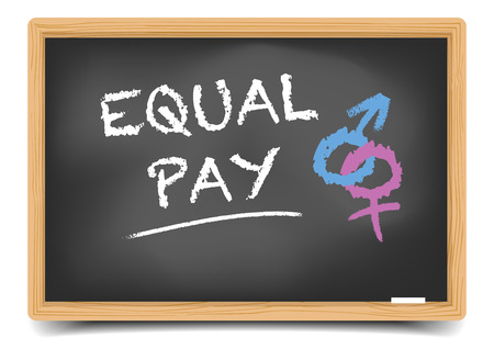 equal to: detailed illustration of a blackboard with Equal Pay text and gender symbols, vector, gradient mesh included