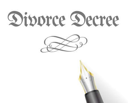 to sue: illustration of a Divorce Decree Letter with fountain pen Illustration