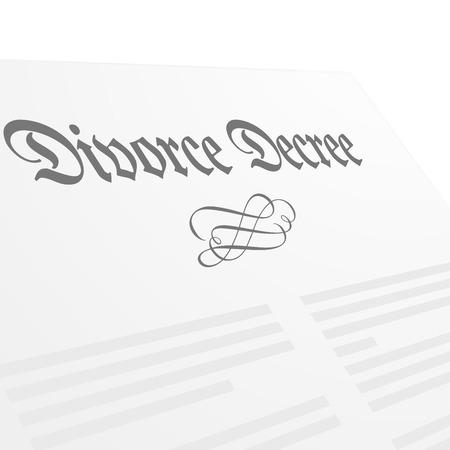 to sue: detailed illustration of a Divorce Decree letter, vector