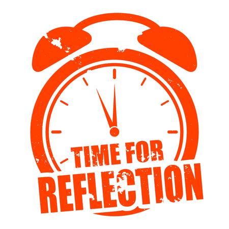 minimalistische illustratie van een grungy klok met tijd voor reflectie tekst, vector