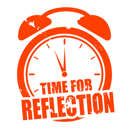 minimalistic illustration of a grungy clock with time for Reflection text, vector Illustration
