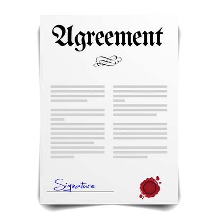 signing papers: detailed illustration of an Agreement Letter, vector