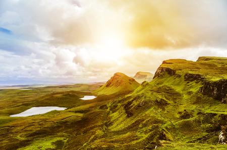 typically scottish: Scottish Highlands with scenic evening sky