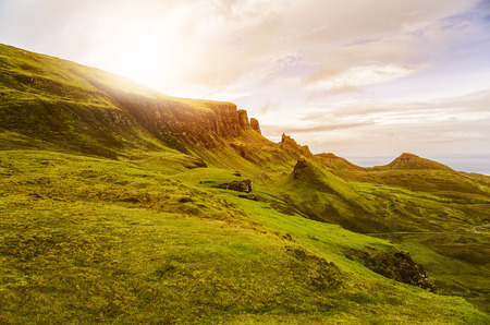 typically british: scenic sunset with vanilla sky in the Scottish Highlands