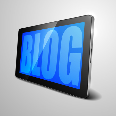 computer device: detailed illustration of a tablet computer device with Blog text, eps10 vector