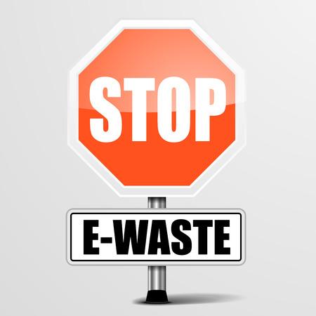 trash danger: detailed illustration of a red stop E-Waste sign, eps10 vector