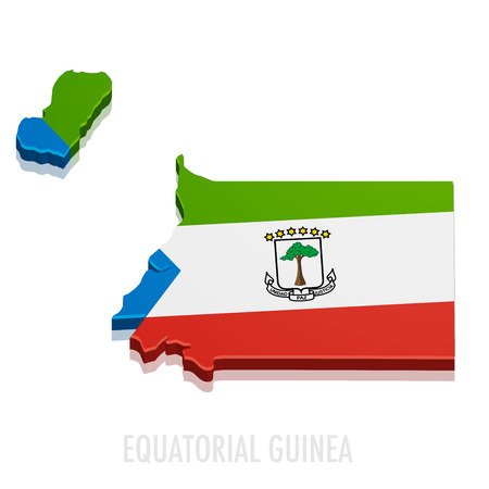 equatorial: detailed illustration of a map of Equatorial Guinea with flag, eps10 vector