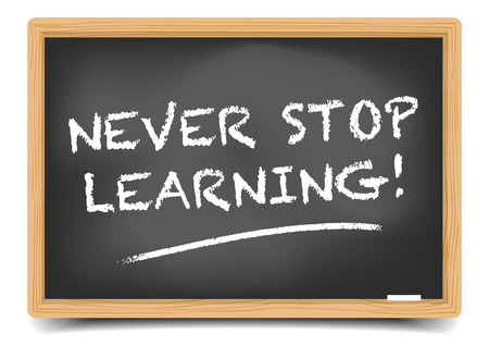 never: detailed illustration of a blackboard with Never Stop Learning text, eps10 vector, gradient mesh included Illustration