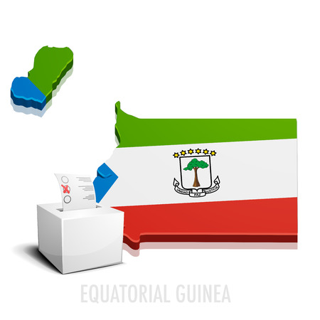 equatorial guinea: detailed illustration of a ballotbox in front of a map of Equatorial Guinea, eps10 vector