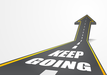 keep up: detailed illustration of a highway road going up as an arrow with Keep Going text, eps10 vector