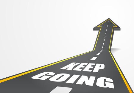 Illustration détaillée d'une route de la route qui monte comme une flèche avec Keep Going texte, vecteur eps10 Banque d'images - 44083107