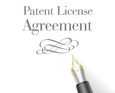 patent: illustration of a Patent License Agreement Letter head with fountain pen