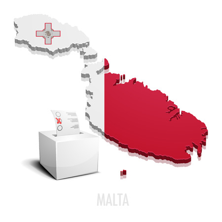 malta map: detailed illustration of a ballotbox in front of a map of Malta, eps10 vector