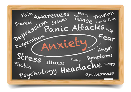 detailed illustration of an anxiety wordcloud on a blackboard, eps10 vector, gradient mesh included Illustration