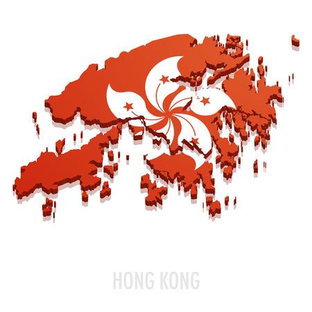 hong: detailed illustration of a map of Hong Kong with flag, eps10 vector Illustration
