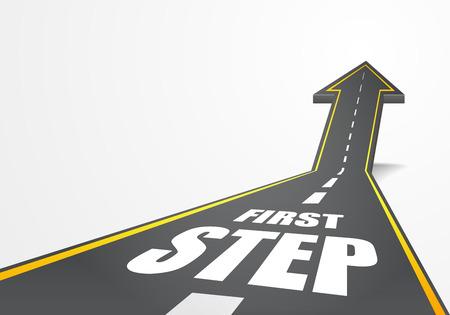 ilustración detallada de un camino de la carretera que sube como una flecha con el texto Primer Paso, vector eps10