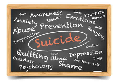 suicidal: detailed illustration of a suicide wordcloud on a blackboard, eps10 vector, gradient mesh included Illustration