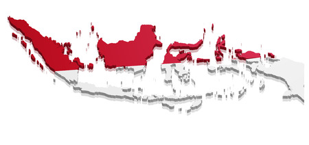 detailed illustration of a map of Indonesia with flag, eps10 vector