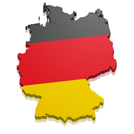 white flag: detailed illustration of a map of Germany with flag, eps10 vector