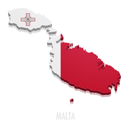 maltese map: detailed illustration of a map of Malta with flag, eps10 vector