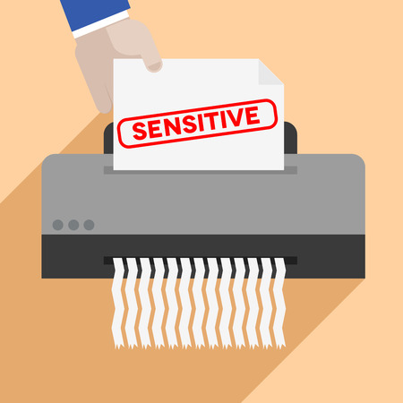 shred: minimalistic illustration of a hand putting a letter with sensitive text into a paper shredder, eps10 vector
