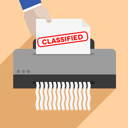 classified: minimalistic illustration of a hand putting a letter with Classified text into a paper shredder, eps10 vector