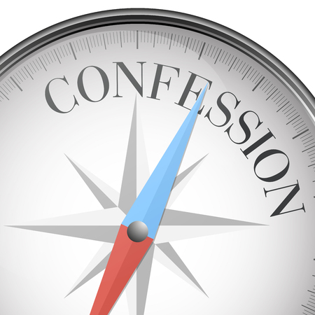 sinner: detailed illustration of a compass with Confession text, eps10 vector