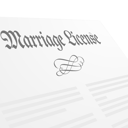 license: detailed illustration of a Marriage License letter, eps10 vector