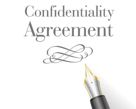 confidentiality: illustration of a Confidentiality Agreement Letter with fountain pen Illustration