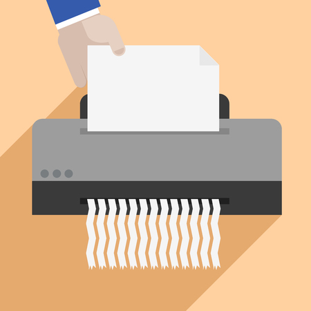 shredder machine: minimalistic illustration of a hand putting a letter into a paper shredder, eps10 vector Illustration