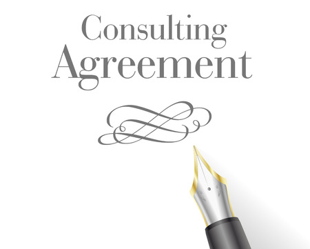 financial adviser: illustration of a Consulting Agreement Letter with fountain pen Illustration